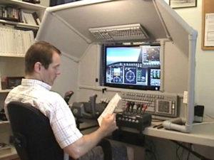 man at the controls