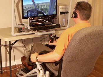 Man flying a helicopter simulator