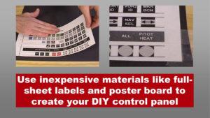 man applying button label sheet