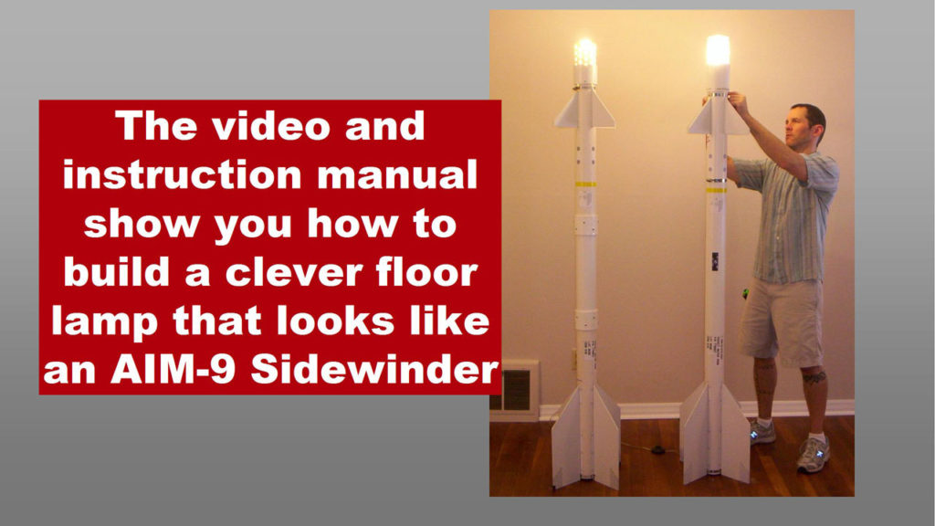 man with two missile-shaped floor lamps
