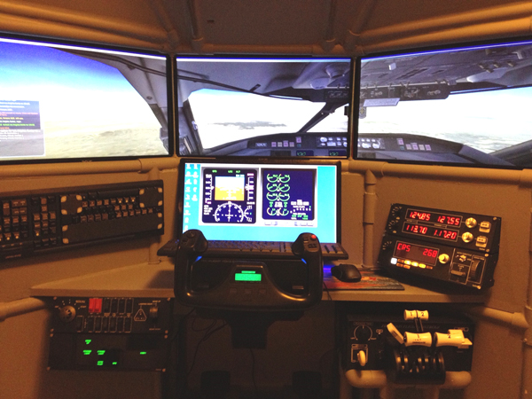 Quad screen flight sim with switch panels, throttle quad by Rich