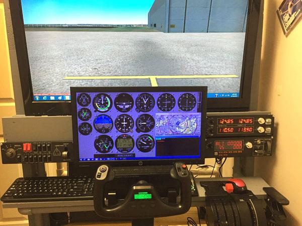 large two screen flight sim