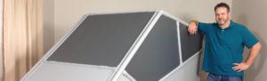 DIY Flight Sim Pod, exterior view with man standing next to it