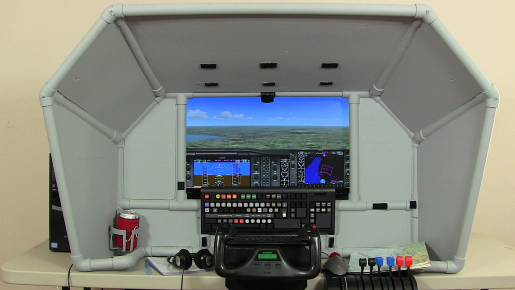 Full view of the flight simulator
