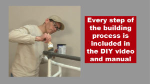 man painting pipe frame