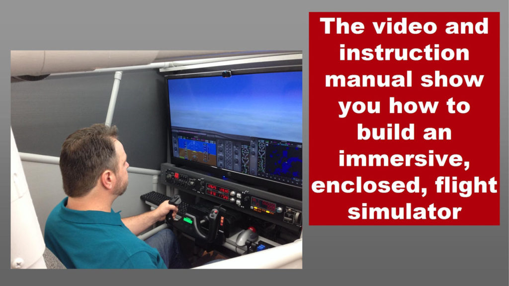 man at the controls of the flight sim pod