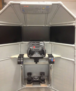 Steven's triple screen flight sim with trim wheel