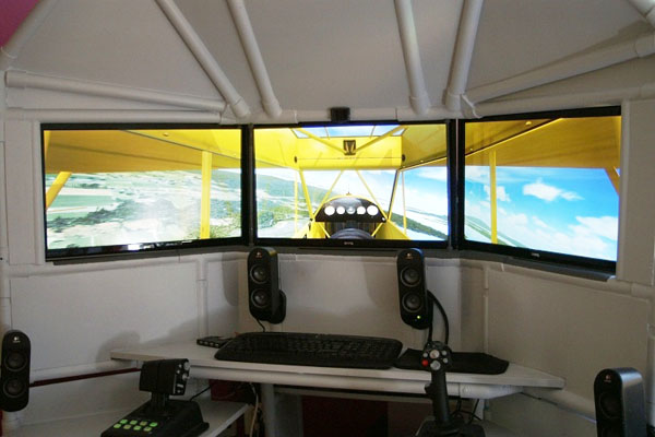 DIY triple screen flight simulator with HOTAS