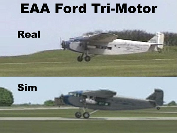 EAA Ford Tri-motor, real and simulated