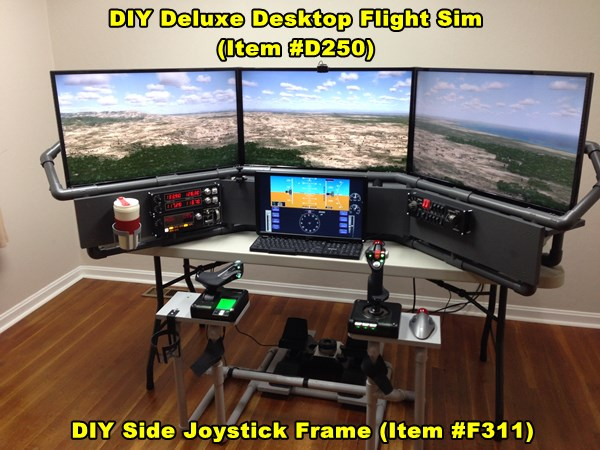 Deluxe Desktop Flight Sim with Side Joystick Frame